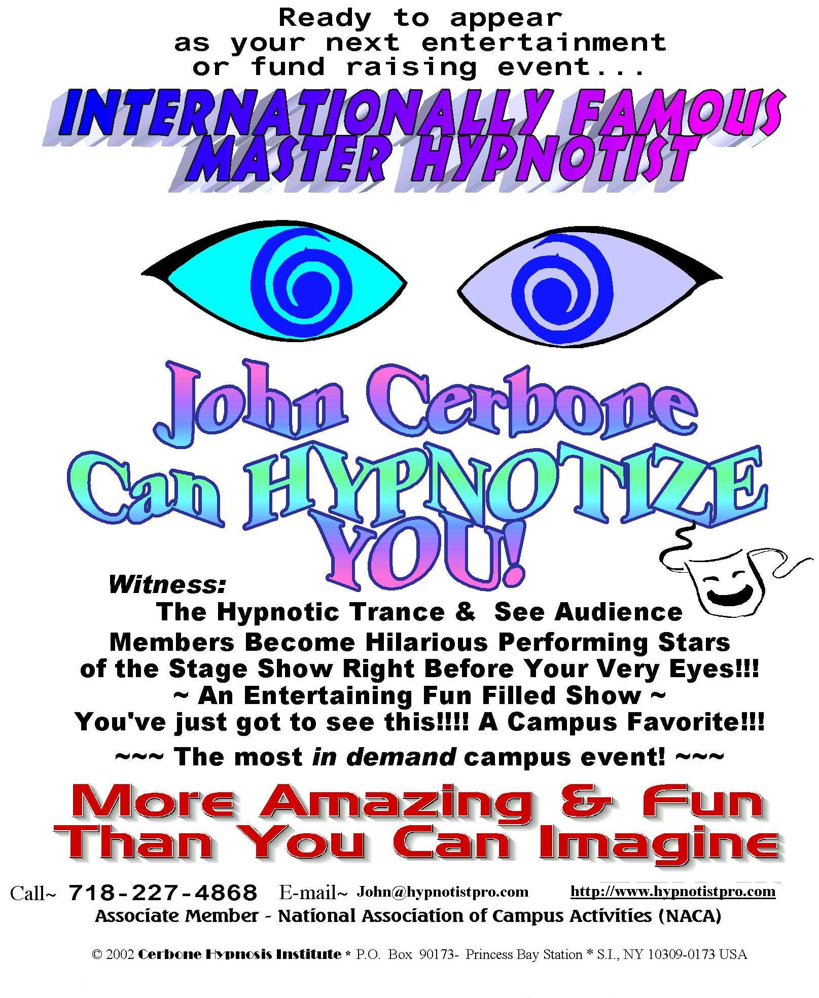 John cerbone the trance master comedy stage hypnosis show flyer